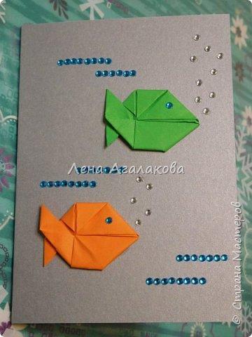 Сегодня с моей дочкой весь вечер делали открытки учителям, она увлекается оригами и поэтому решили использовать оригами фигурки в открытках, результат нам понравился! фото 8