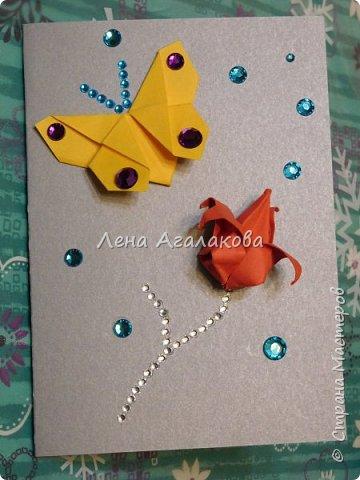 Сегодня с моей дочкой весь вечер делали открытки учителям, она увлекается оригами и поэтому решили использовать оригами фигурки в открытках, результат нам понравился! фото 4