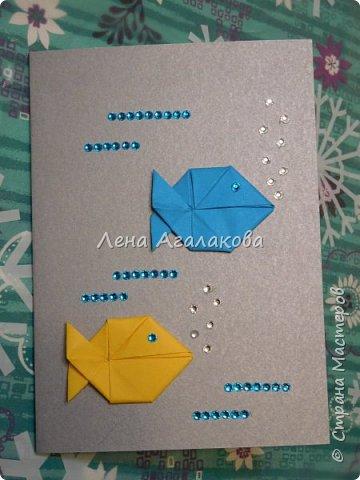 Сегодня с моей дочкой весь вечер делали открытки учителям, она увлекается оригами и поэтому решили использовать оригами фигурки в открытках, результат нам понравился! фото 5