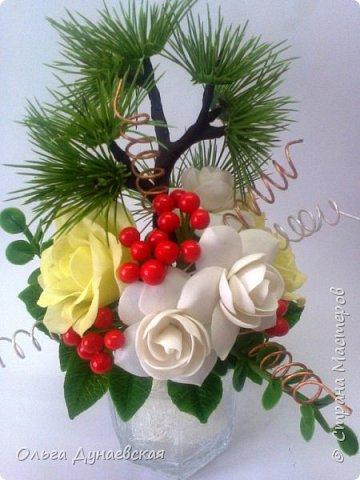 Здравствуйте жители страна мастеров. слепилась такая новогодняя композиция.Розы.гартения и ягодки фото 3