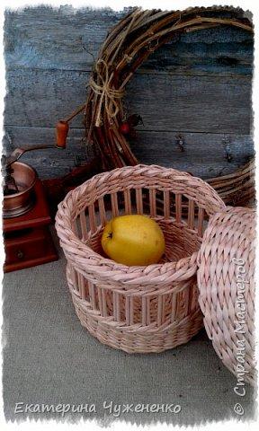 Вот ведь, и так бывает - сначала задумывалось совсем не то, что получилось в итоге:) Плела обычную шкатулку, но руки понесли совсем в другую степь, сплели еще и крышку, приделали ручку  и вот  результат - перед вами корзина для фруктов (мандаринок, апельсинок, яблок, бананов и т.д.) Или же для овощей (лука, чесночка и т.д.)   фото 3