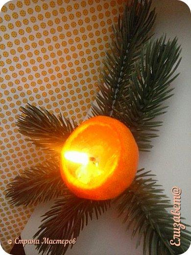 """Доброво времени суток жители СМ ! Я выкроила минутку свободного времени и выкладываю блог о новогоднем декоре 1 свеча """"мандаринка"""" воск залит в кожутку от мандаринки фото 1"""