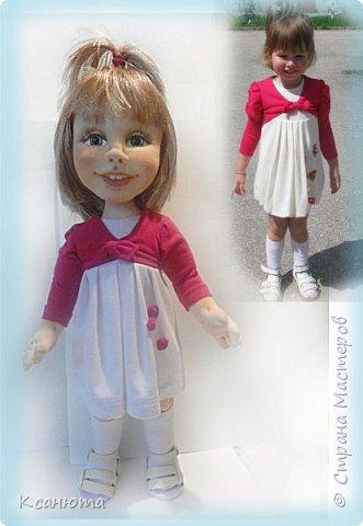 Сделала куклу по фото.Эта самая маленькая девочка,которую пробовала сделать.И так приятно было работать. дети-они, как ангелочки. Вот такая, она получилась. фото 4