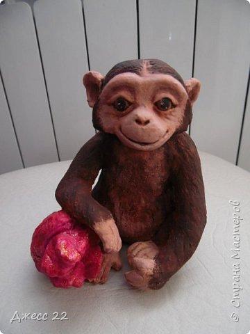 И снова обезьян, на этот раз на лампочке.  Я уже делала Деда Мороза и тут снова вспомнила, что лампочки то еще есть. Хотела сделать что то смешное, но вышла довольно серьезная шимпанзень.  Даже не могу понять кто это она или он, наверное она благодаря основе очень попа толстая) фото 2