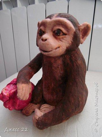 И снова обезьян, на этот раз на лампочке.  Я уже делала Деда Мороза и тут снова вспомнила, что лампочки то еще есть. Хотела сделать что то смешное, но вышла довольно серьезная шимпанзень.  Даже не могу понять кто это она или он, наверное она благодаря основе очень попа толстая) фото 3