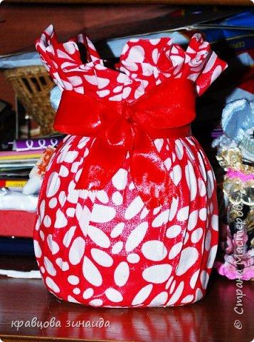 """ДОБРЫЙ ДЕНЬ МОИ ДОРОГИЕ!  сегодня я к вам новыми поделками , полюбила технику """" грунтовый текстиль """" вот и  сделала вазочку , получилась  вазочка с бантиком фото 1"""