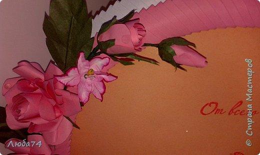 """Всем доброго вечера! Еще в августе месяце был у меня заказ от молодого человека. Сделать подарок из бумаги для жены к годовщине """"бумажной свадьбы"""". Времени было мало, всего лишь полтора суток. Решила им сделать фото рамку, открытку и букет с конфетами. фото 4"""