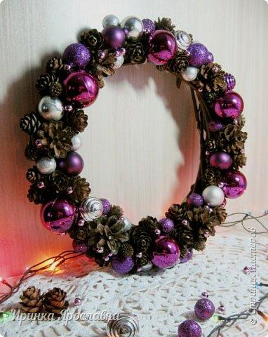 """Здравствуйте, друзья! Вот мои последние новогодние работы)  Веночек """"Фиолет"""") фото 1"""