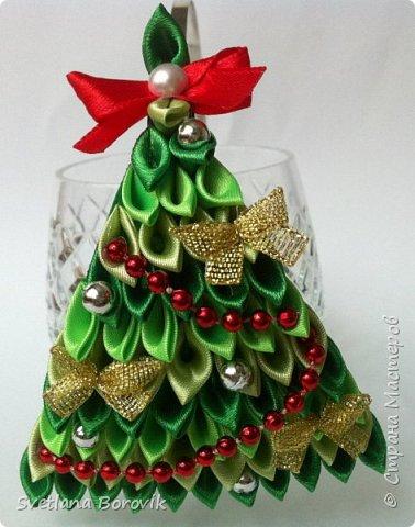 Обруч Новогодняя ёлочка канзаши из атласных лент
