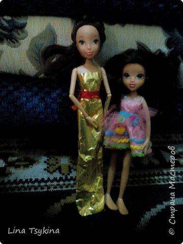 """Привет! Это моя работа на конкурс """" Новогоднее чудо """". Знакомтесь - это моя кукла Ирина ( в золотистом платье) и её подруга Софина. фото 1"""