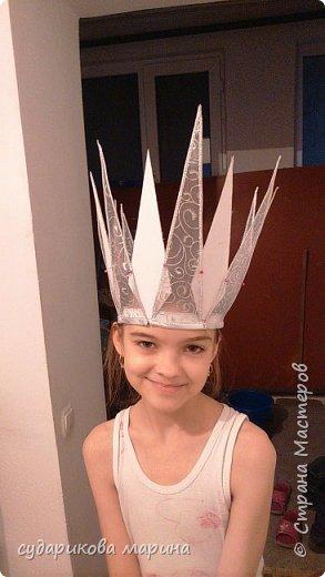 Вот такая корона Снежной королевы у меня получилась к костюму моей доченьке фото 5