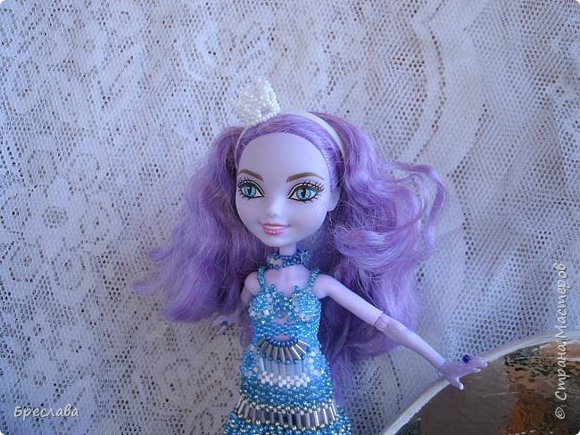 Участвовала в новогоднем обмене подарками. Вот, что  подарила я. Наряд на куклу Китти Чешир, Работу представляет моя Фиалка  фото 3