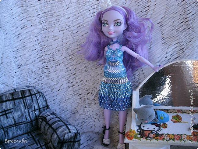 Участвовала в новогоднем обмене подарками. Вот, что  подарила я. Наряд на куклу Китти Чешир, Работу представляет моя Фиалка  фото 6
