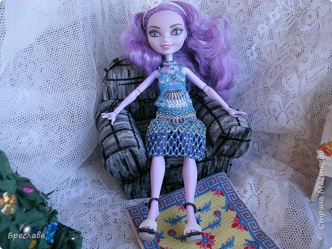 Участвовала в новогоднем обмене подарками. Вот, что  подарила я. Наряд на куклу Китти Чешир, Работу представляет моя Фиалка  фото 7