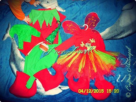 костюмчики для сыночка 4,5 года и для годовалой доченьки ,шапка и крылышки покупные,воротник ,башмаки шила  сама.Юбочка из фатина (простая техника без шитья)бубенчики покупала в рыболовном .Фото не переворачиваются фото 2