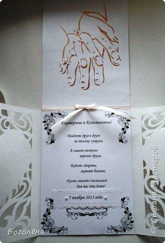 Подруга пошла на свадьбу. Просила сделать что-нибудь для денежного подарка. Я, за неделю до этого, увидела в Стране красивую открытку (не помню мастера) и решила объединить открытку и конверт. Вот что получилось. фото 3