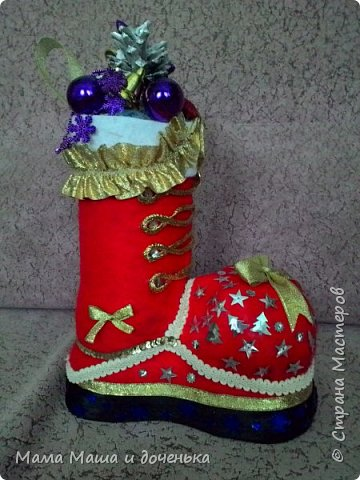 Всем привет, вот такой интересный сапожок Деда Мороза сделали мы с дочкой в  преддверии праздника.  фото 5