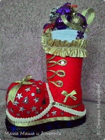 Всем привет, вот такой интересный сапожок Деда Мороза сделали мы с дочкой в  преддверии праздника.  фото 1