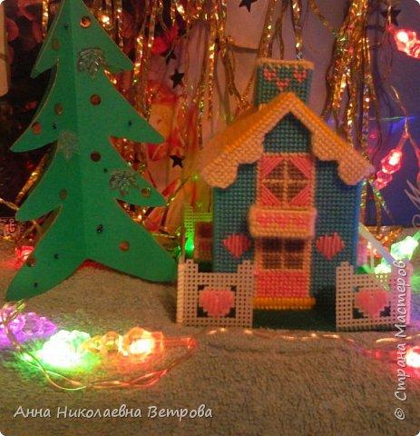 Зимний домик из пластиковой канвы с забором и балкончиками. Для роботы были испльзываны шерстяные цветные нитки.  Вид с фасада. фото 1