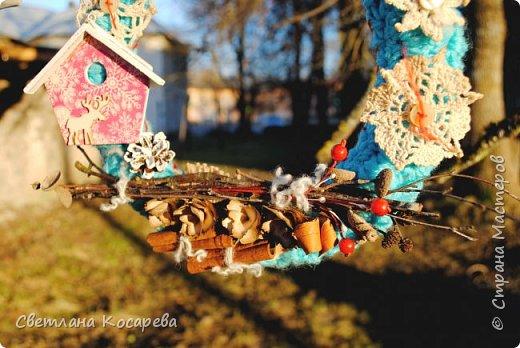 Снега у нас нет,настроения новогоднего тоже.Приходится поднимать его искусственно)) Веночки в свитерочках. фото 2