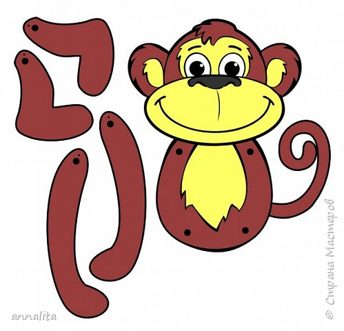 Здравствуйте всем. К Новому году решила я сделать с дочкой какую-нибудь обезьянку. Пересмотрела много вариантов поделок в интернете, но то ли мне они не нравились, хоть и простые были, то ли сложность пугала (не сможет ребенок сделать 5 лет, а хочется, чтобы 90% работы мог сделать сам). В итоге вспомнила про игрушки-дергунчики. Но обезьянки, к сожалению, не нашла - пришлось рисовать самой. Обезьянка достаточно простая, поэтому можно усложнить работу, сделав аппликацию (разбив шаблон на детали). фото 6