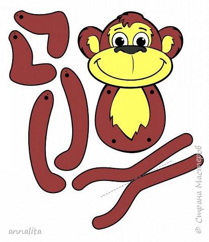 Здравствуйте всем. К Новому году решила я сделать с дочкой какую-нибудь обезьянку. Пересмотрела много вариантов поделок в интернете, но то ли мне они не нравились, хоть и простые были, то ли сложность пугала (не сможет ребенок сделать 5 лет, а хочется, чтобы 90% работы мог сделать сам). В итоге вспомнила про игрушки-дергунчики. Но обезьянки, к сожалению, не нашла - пришлось рисовать самой. Обезьянка достаточно простая, поэтому можно усложнить работу, сделав аппликацию (разбив шаблон на детали). фото 7