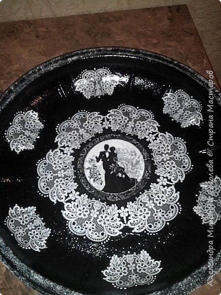 Здравствуйте Мастера и Мастерицы!  Ну вот, как и обещала - моя лампа и тарелка... Уж очень мне нравится черно-белое... даже остановиться не могу... фото 7