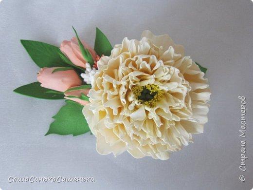 """Вот моя рассекреченная хотелка с конкурса """"Порадуем себя любимых!"""". В этой работе сошлись сразу два моих давних желания 1. научиться делать достоиные реалистичные цветы из фома, 2. сделать комплект свадебных украшений. Для первого раза - не плохо получилось! И сразу же нашлась невеста для этой работы).  фото 3"""