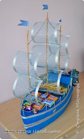 Представляю свою работу. Сладкий корабль с отсеком для игристого внутри. фото 1