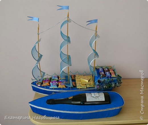 Представляю свою работу. Сладкий корабль с отсеком для игристого внутри. фото 3