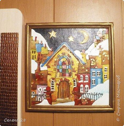 """Рождественская деревенька  списана  с """"Кривых домиков""""  Майкла Пауэлла. Обожаю его работы. Размер 25х25см. Акриловые краски, картон. фото 2"""
