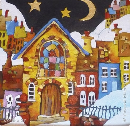 """Рождественская деревенька  списана  с """"Кривых домиков""""  Майкла Пауэлла. Обожаю его работы. Размер 25х25см. Акриловые краски, картон. фото 3"""