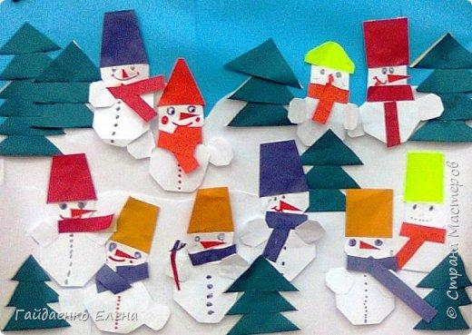 Делали с детьми 9 лет снеговичков. Это результат работы одной группы: