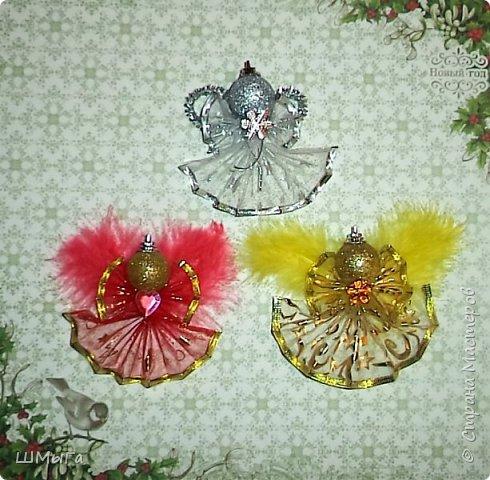 Вот такие ангелочки получились у меня из ленты с металлизированным краем. фото 6