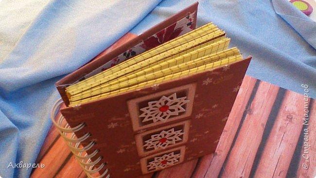 Предновогодняя подготовка, сделала блокнотики, для небольших подарочков. С каждым блокнотом, все лучше получалось управляться с биндером и пружинами. Блокнотов 16 штук. Размер примерно 13,5 на 10,5 по обложке. Основа обложек картон. Обтянут бумагой. Бумага качественная для скрапа, из разных коллекций. Некоторые обтянуты пастельной, цветной бумагой, на которой сделала тиснение. Ну, сами посмотрите, фотографий много. фото 31