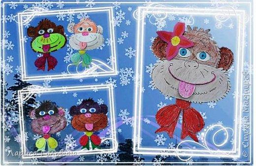 Эту игрушку - обезьянку нашла на сайте Лунтики.Игрушка из двух деталей, скреплена проволокой. Если поворачивать бант влево и вправо, обезьянка смешно закатывает глаза. Цветную картинку немного обработала и распечатала для раскрашивания фото 1