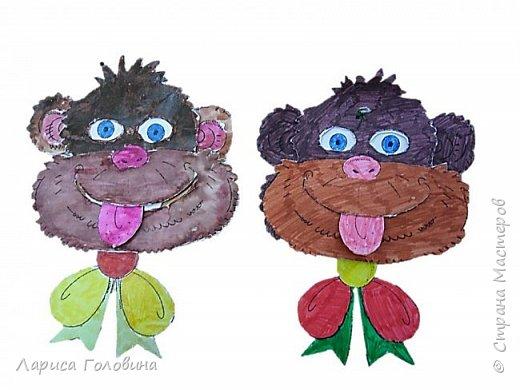 Эту игрушку - обезьянку нашла на сайте Лунтики.Игрушка из двух деталей, скреплена проволокой. Если поворачивать бант влево и вправо, обезьянка смешно закатывает глаза. Цветную картинку немного обработала и распечатала для раскрашивания фото 3