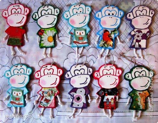 Добрый день!!! В этом году у меня получились вот такие новогодние сувениры.  45 обезьянок. фото 2