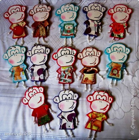 Добрый день!!! В этом году у меня получились вот такие новогодние сувениры.  45 обезьянок. фото 4