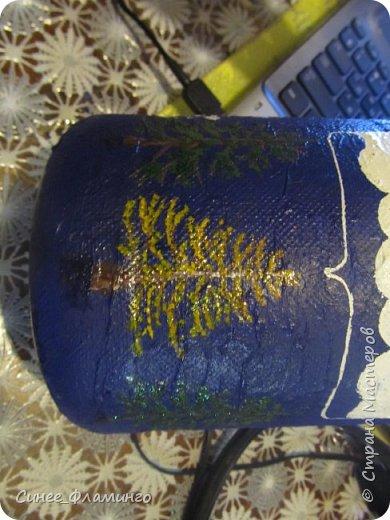 Ностальгия по Крайнему северу и хорошее настроение) Материал-бутылка,у меня с ручкой.Салфетки,ПВА,гуашь,гель с блестками. фото 14