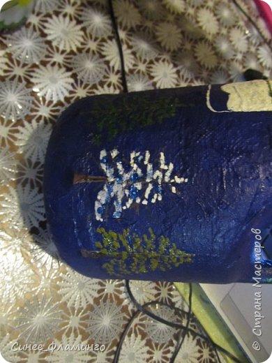 Ностальгия по Крайнему северу и хорошее настроение) Материал-бутылка,у меня с ручкой.Салфетки,ПВА,гуашь,гель с блестками. фото 9