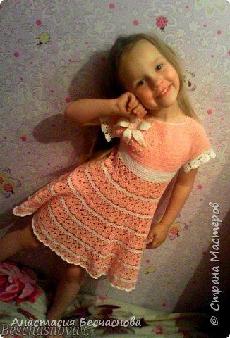 Здравствуйте.Вот решила выставить и свои вязалки.Первое платье на дочери.Нитки Фило ди скозиа 100% хлопок.Расход не помню))) фото 1