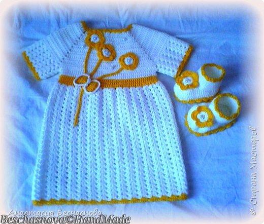 Здравствуйте.Вот решила выставить и свои вязалки.Первое платье на дочери.Нитки Фило ди скозиа 100% хлопок.Расход не помню))) фото 7