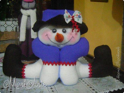 Куклы Новый год Шитьё Снеговичок 2 с выкройкой Клей Краска Ткань фото 1
