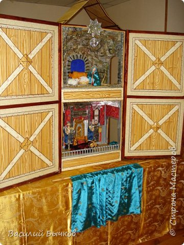 Рождественский двухярусный настольный театр для вертепного представления. фото 1