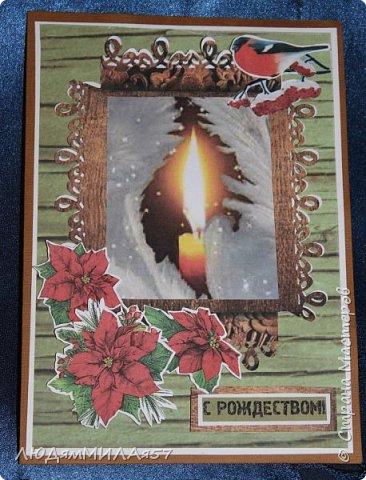 Здравствуй,Страна Мастеров! У меня рождественские открытки с рамочками. фото 2