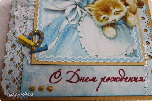 Здравствуйте! Эту открыточку делала внучке на 2 годика. Давно мне нравится эта картинка. На мою Вареньку похожа. Варе эта открытка понравилась. Она сразу узнала котенка и тыкала в него пальчиком: это Маленький, это Рыжик!  И согласилась, что девочка - это Варя. фото 7