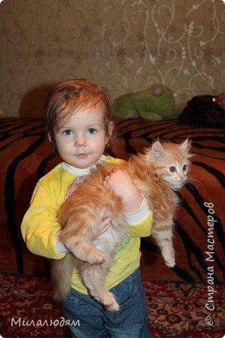 Здравствуйте! Эту открыточку делала внучке на 2 годика. Давно мне нравится эта картинка. На мою Вареньку похожа. Варе эта открытка понравилась. Она сразу узнала котенка и тыкала в него пальчиком: это Маленький, это Рыжик!  И согласилась, что девочка - это Варя. фото 10