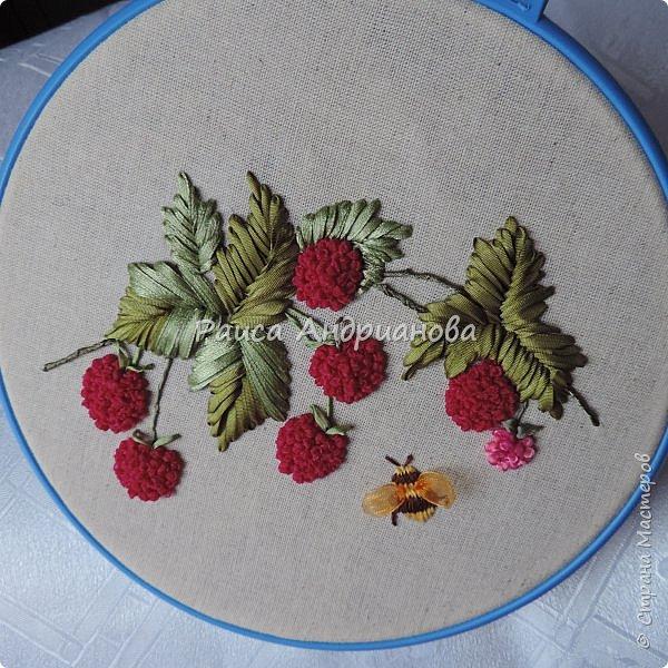 Вышивка малины лентой