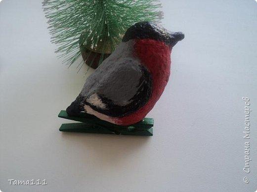 Решила к новому году что то сотворить.Налепила птичек папье маше. Вот первый обитатель нашей новогодней ёлки -дятел. Крепятся игрушки на деревянные прищепки,предварительно покрашенные в зеленый.Держится на ёлочке хорошо.  фото 6